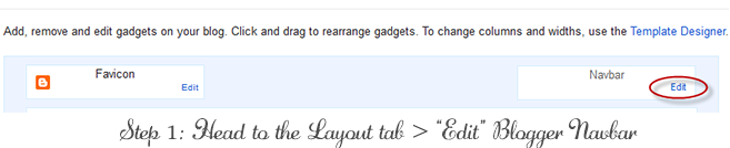Step 1 of How to Remove Bloggers NavBar