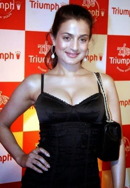hot ameesha patel cleavage black dress