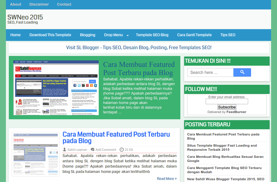 tampilan Sahill Wuss Neo dengan featured post