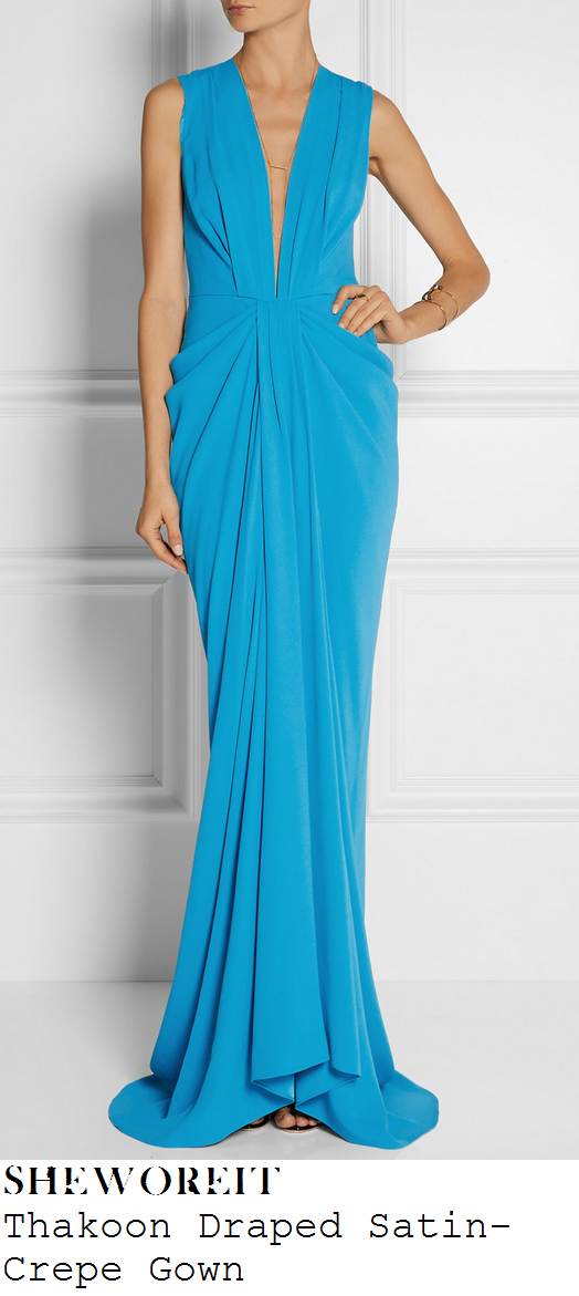 lucy-mecklenburgh-turquoise-blue-sleeveless-plunge-front-draped-gown-bt-action-woman