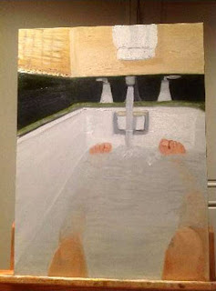 Painting of man's legs in a bathtub. Description follows in caption.