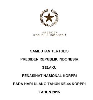 Sambutan Presiden RI Pada Peringatan HUT KORPI Ke-44 Tahun 2015