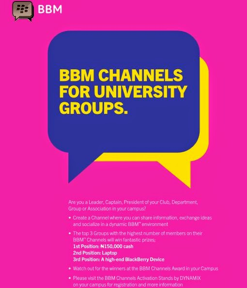BBM CHANNELS FOR UNIVERSITY GROUPS