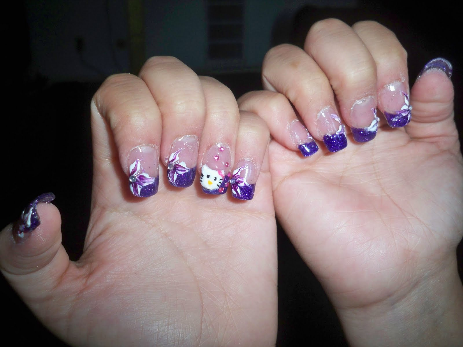 Magnificent Acrylic Nails With Purple Motif - Nail Art Ideas ...