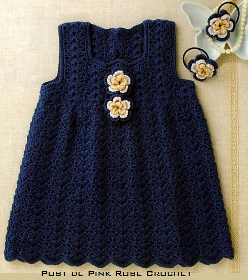 Free Crochet Dress Patterns Easy : Pink Rose Croch?s: Vestido de Croch? Jumper para Meninas