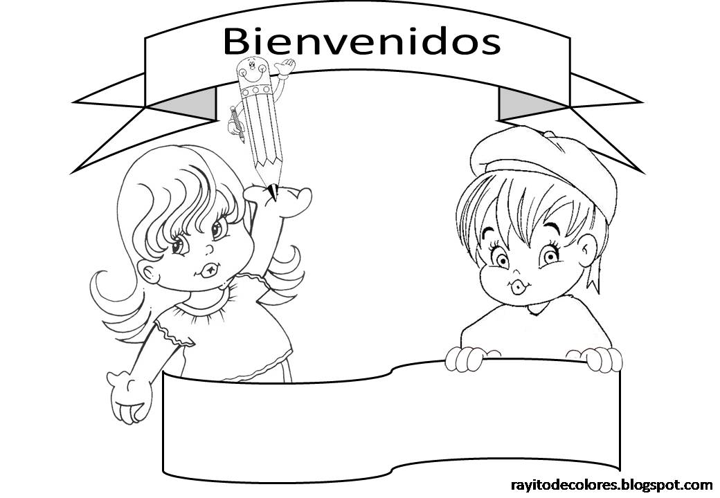 Dibujos para pintar: Carteles de Bienvenida a clases.