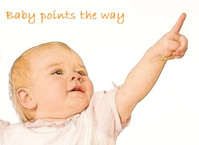Baby points the way