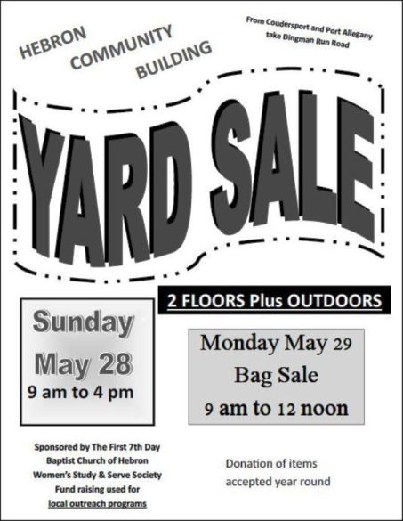 5-29 Hebron Community Yard Sale