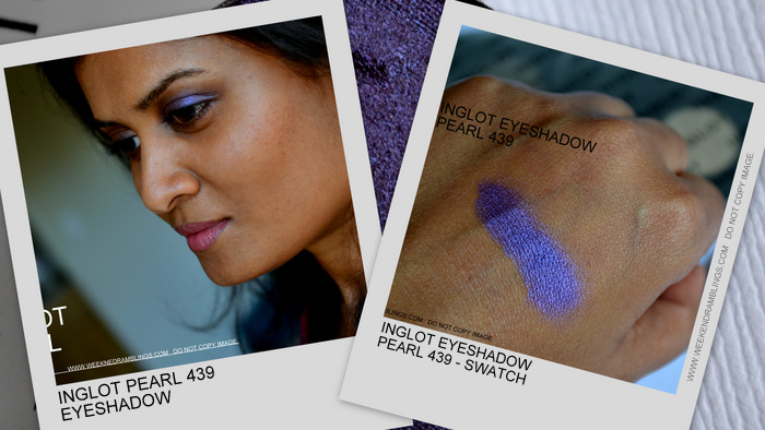 Inglot Pearl 439 Purple Eyeshadow Indian Makeup Beauty Blog Darker Skin Swatch FOTD Makeup Look EOTD Reviews