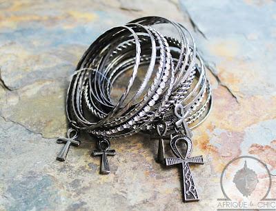 ankh pendant bangle bracelets