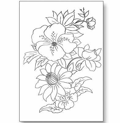 Glass painting patterns design of an arch shaped bunch of flowers