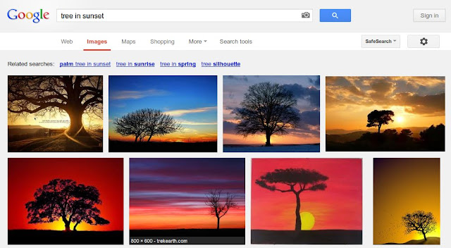 Draw a sunset with tree silhouette landscape scene using