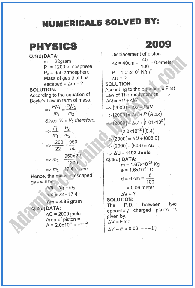 Physics-Numericals-Solve-2009-past-year-paper-class-XII