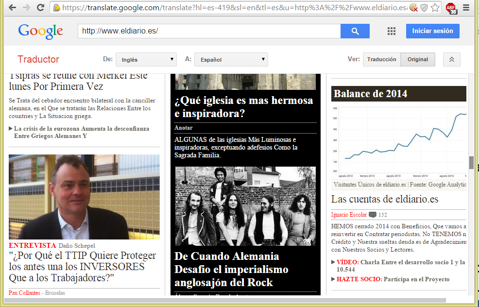 Visitando un página web a través del Traductor de Google