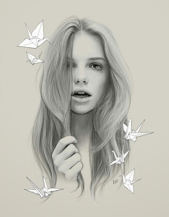 Kei Meguro ilustrações singelas minimalistas foto realistas preto e branco modelos mulheres atrizes