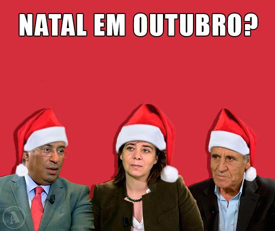 Imagens António Costa, Catarina Martins e Jerónimo de Sousa – Natal em Outubro?