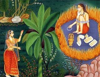 ) Sita takes refuge at the ashram of the sage Valmiki, the poet of Ramayana.