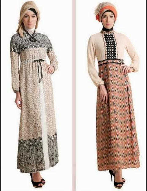 Model Baju Gamis Batik Kombinasi Brokat