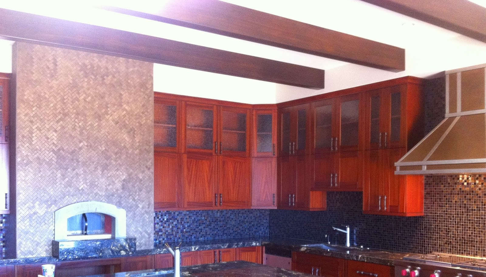 Kaanapali Lanikeha Tuscan Kitchen, backsplash is Oceanside Glass Tile