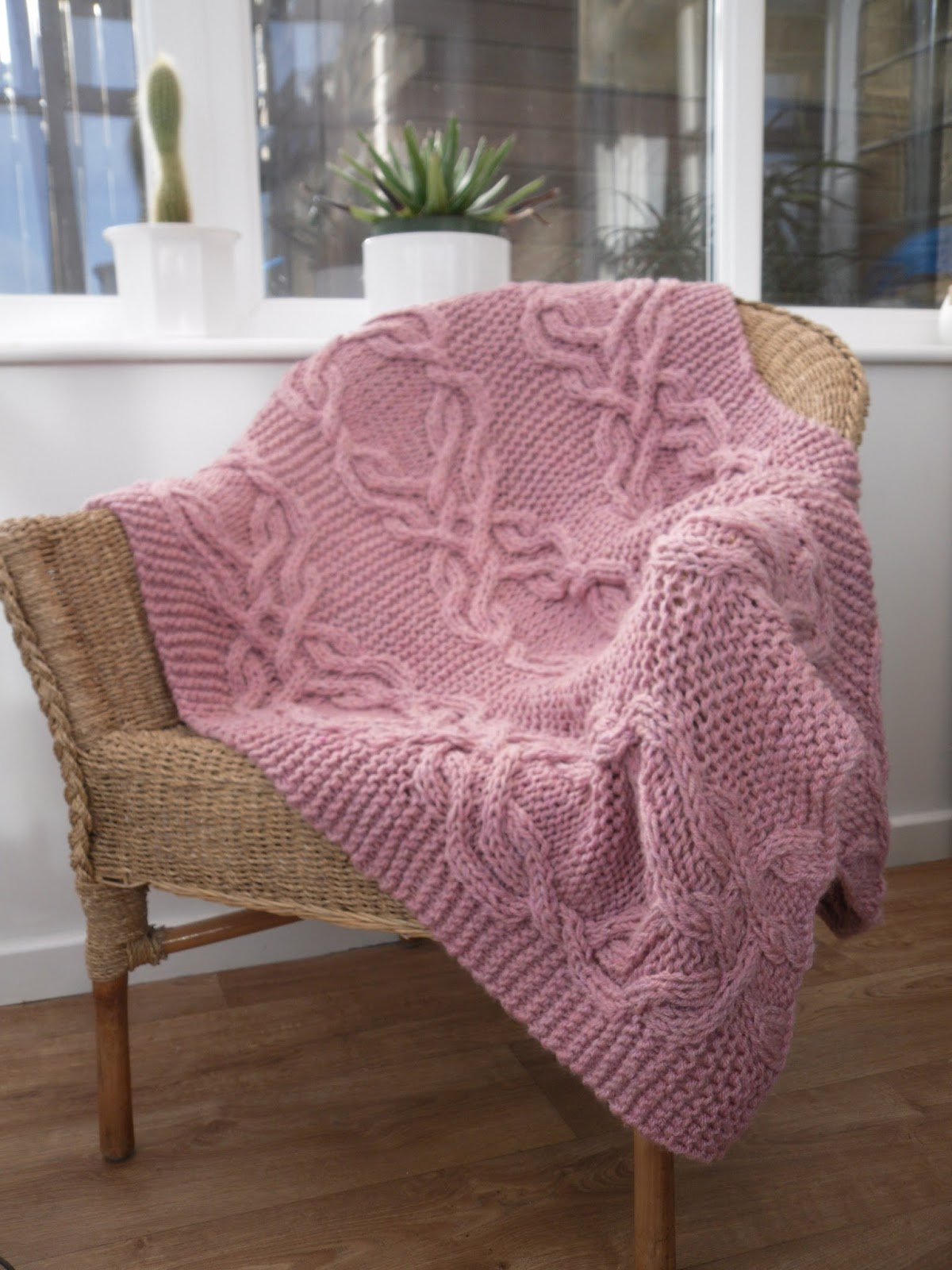 Knitted Lap Blanket Patterns : The Feminine Touch UK Knitting / Felting blog: Free Pattern - Cable Lap Bla...