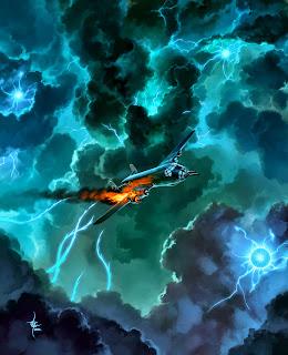 lukas thelin, fenix, last flight of kg200, kenneth hite, sci fi art, nazi bomber, horror, lightning, evil skies