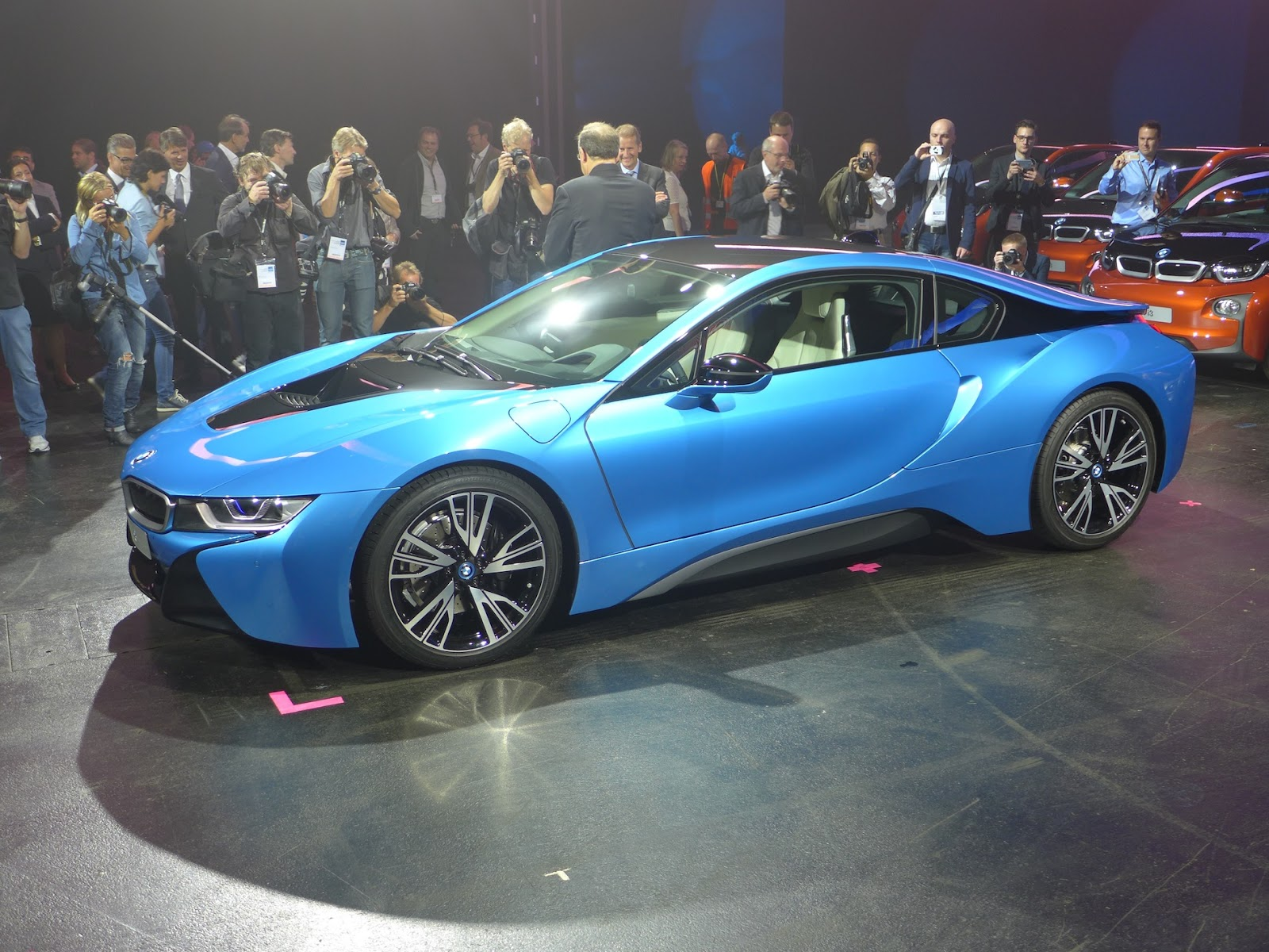 The Protonic Blue BMW I8 Also Features LED Headlight Units North American I8s Will Be Delivered With It Squared Off Cascading