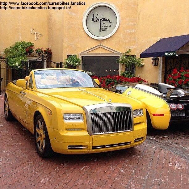 Car Bike Fanatics Yellow Rolls Royce Phantom Drophead Coupe With