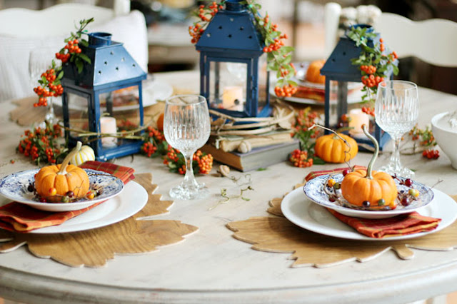 blue and orange table for fall