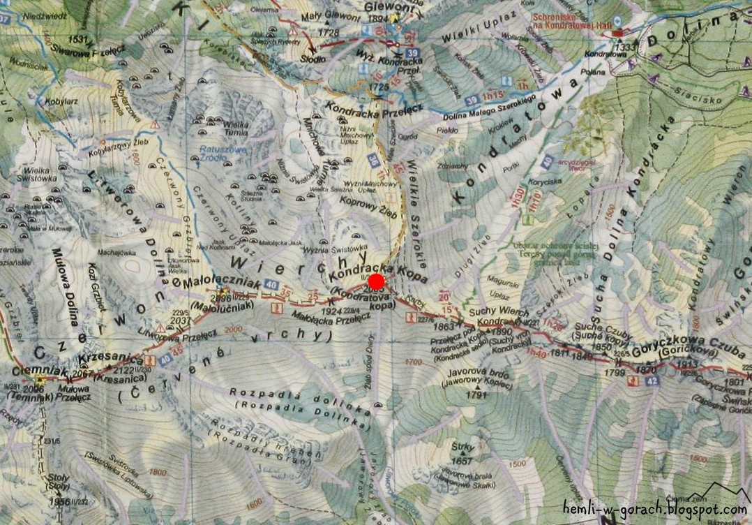 Kopa Kondracka na mapie