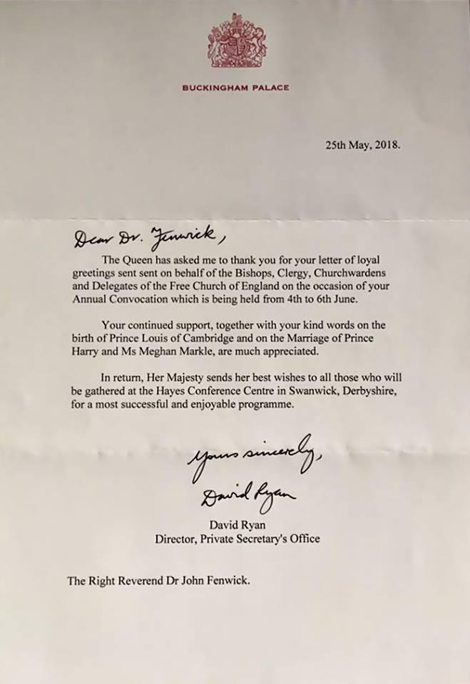 Carta de Sua Majestade A Rainha Elizabeth II para a Free Church of England.