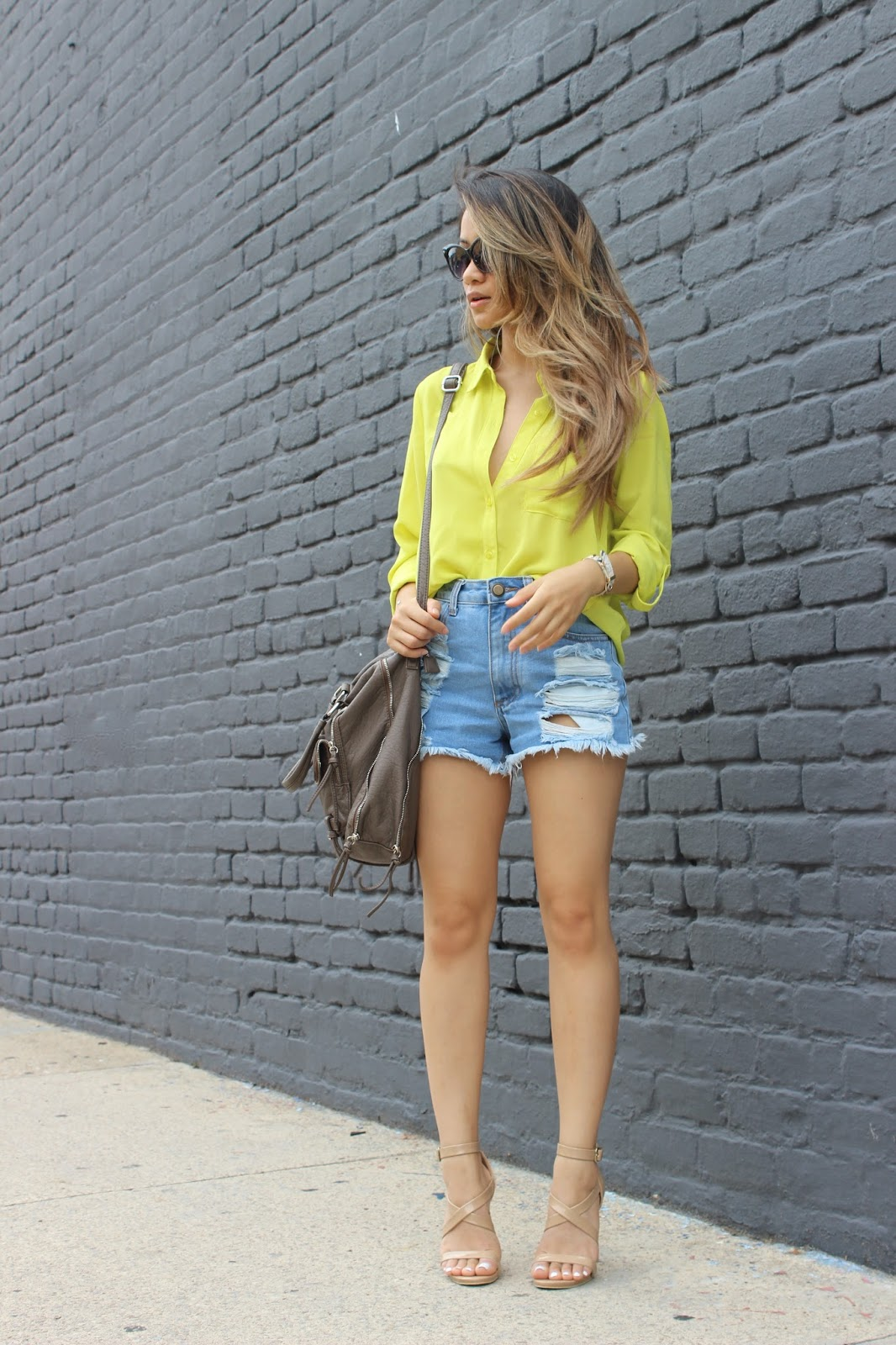 boyfriend jeans, boyfriend shorts, fashion blogger, melbanguyen, soletrekking, forever21,boyfriend shorts, melba nguyen, celine sunglasses, forever21 nude heels, ombre hair, fall fashion, sole trekking, new york fashion week,