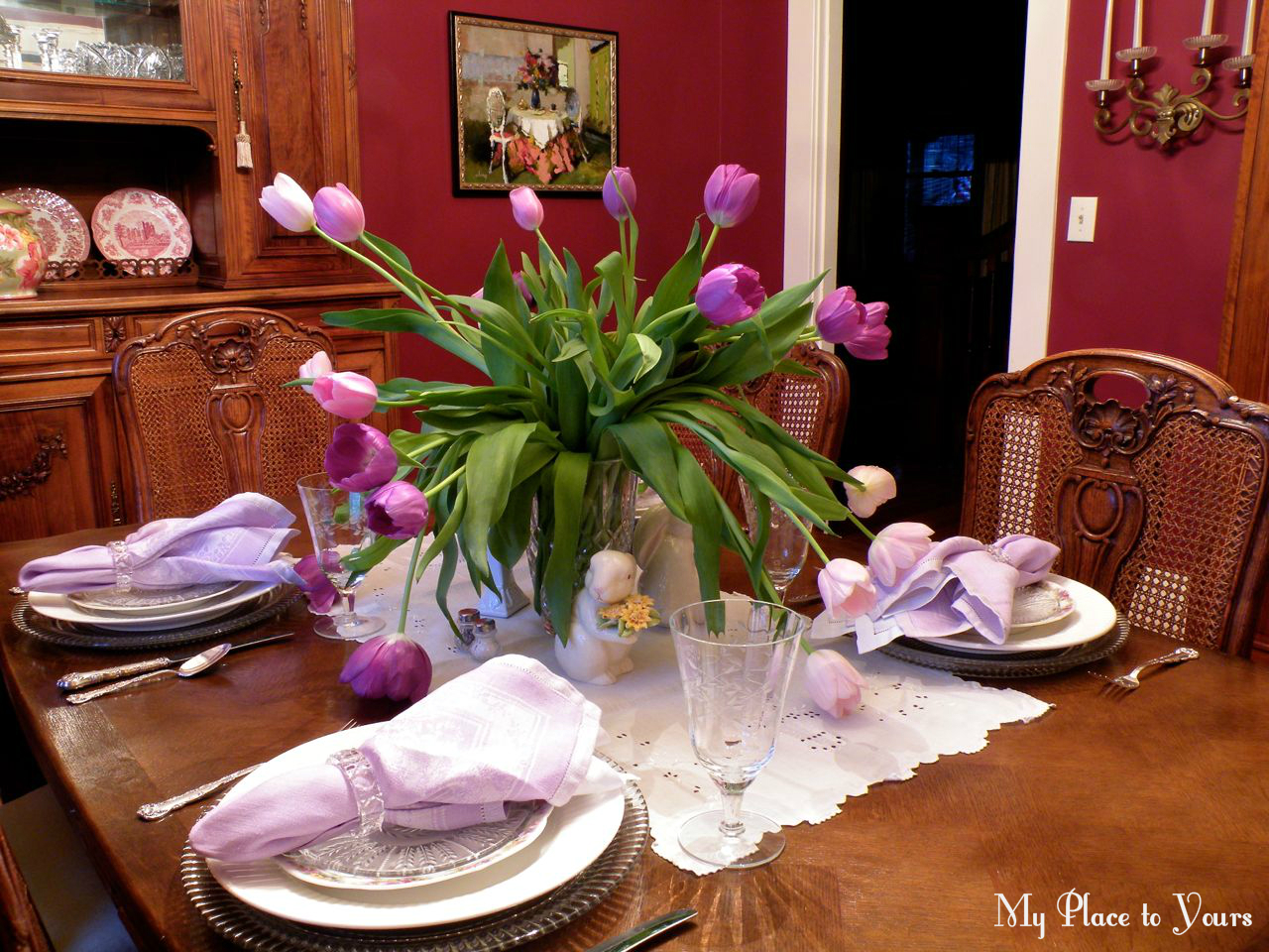 Bunnies at the cross an offensive easter tablescape - Interesting tables capes for christmas providing cozy gathering space ...