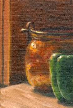 Oil painting of a copper pot and a green pepper on a bench top in the late afternoon sunlight.
