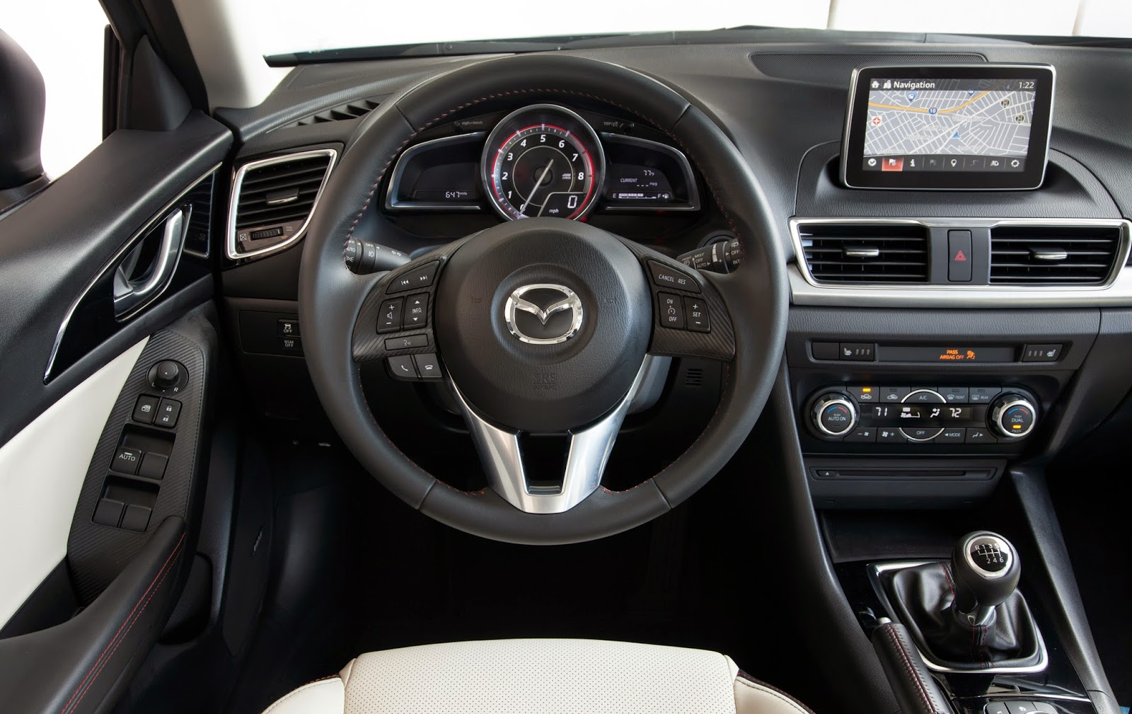 Interior view of 2015 Mazda 3 5-door Grand Touring.
