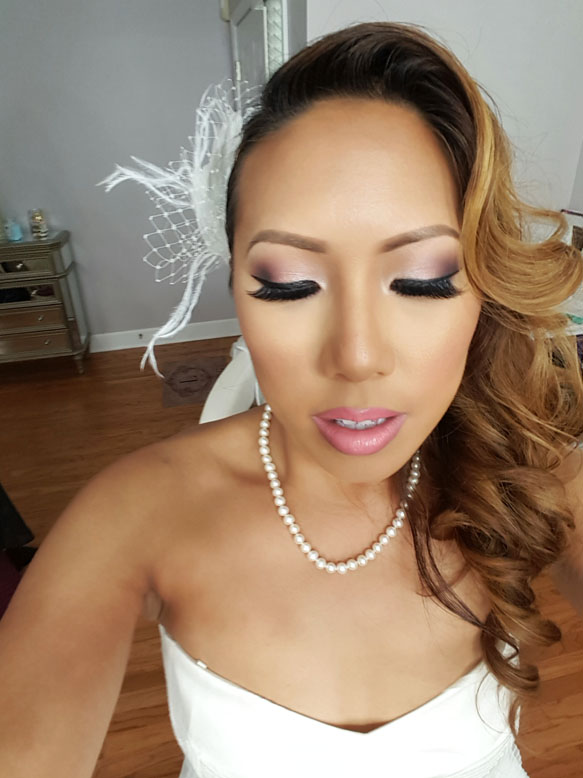 Pretty bridal shower makeup