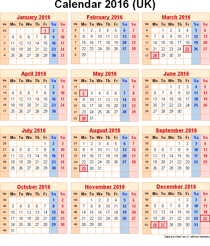 2016 calendar with public bank holidays efreeshare