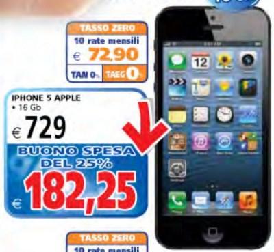 lo smartphone Apple iPhone 5 in vendita a tasso zero e con bonus spesa pari al 25% dal Il Gigante