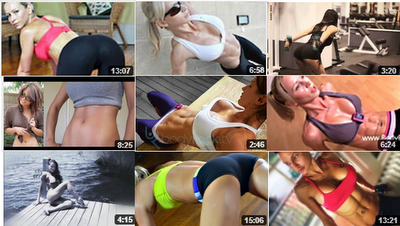 collection of fitness videos thumbnails