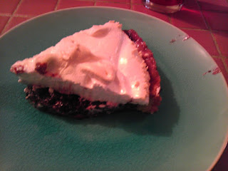 A lovely piece of cherry meringue pie