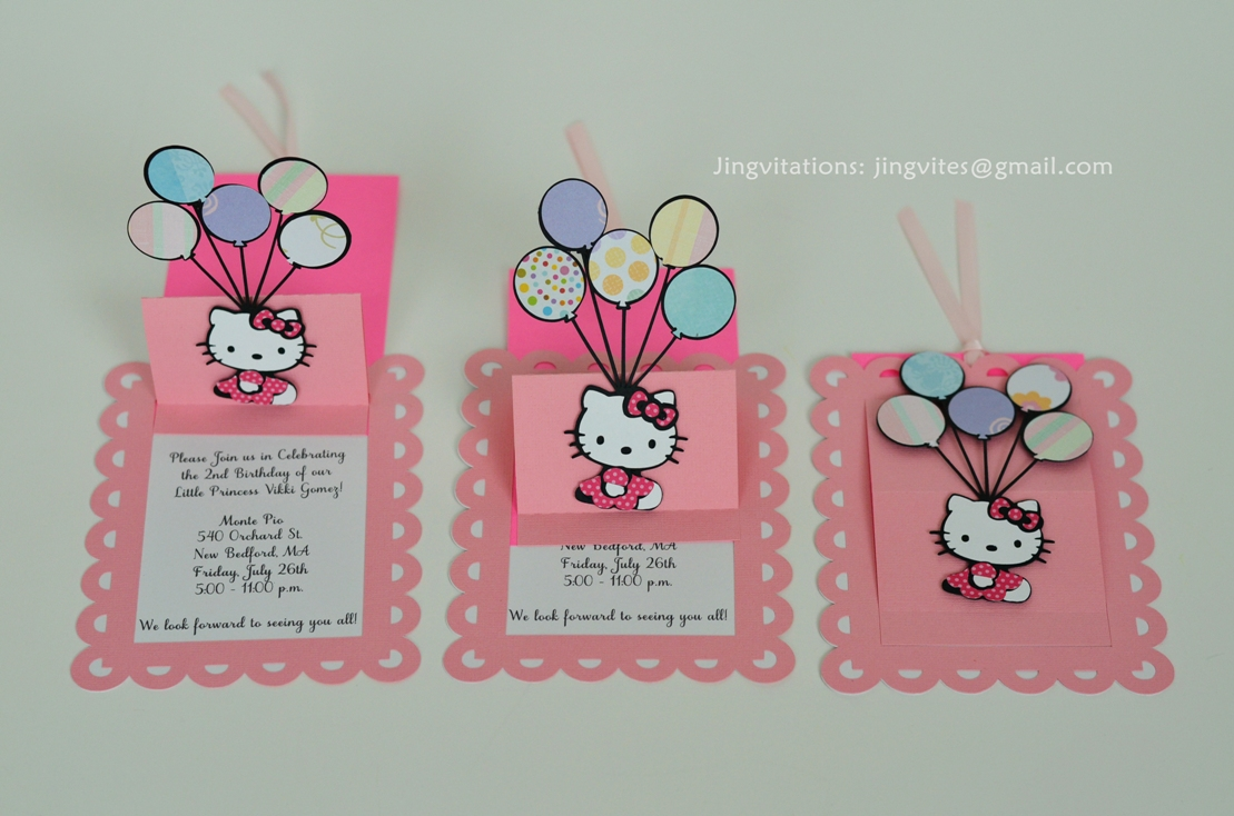 Birthday And Baby Shower Invitations Sanrio Hello Kitty Handmade - Birthday invitation in germany