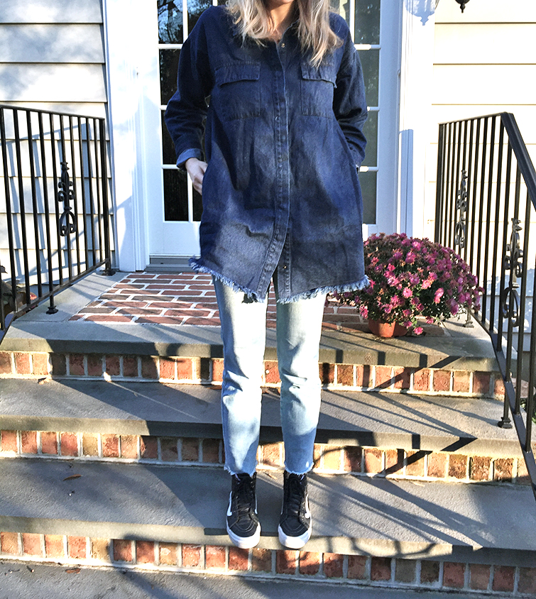 Need Supply dark denim frayed tunic, Fram Denim jeans, Vans leather high top sneakers