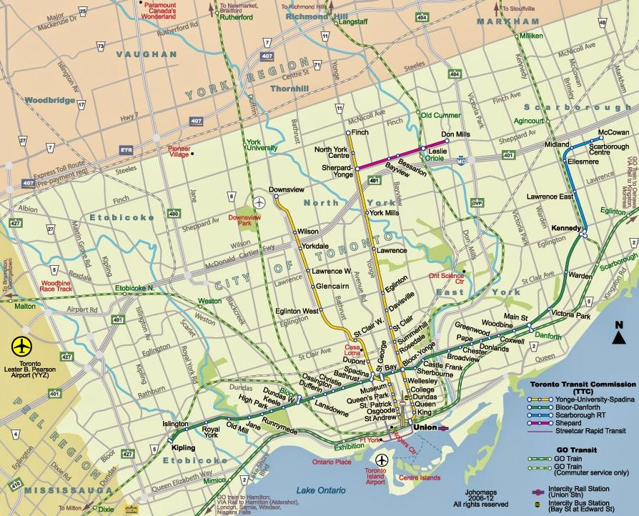 toronto street map with metro lines