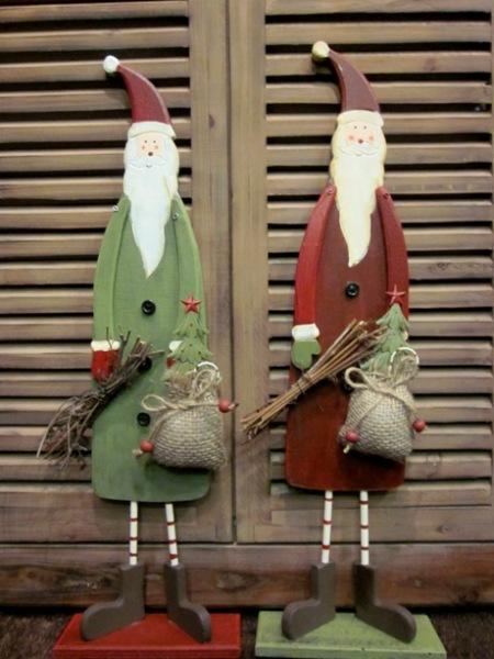 Figuras PapaNoel madera, verde, marron