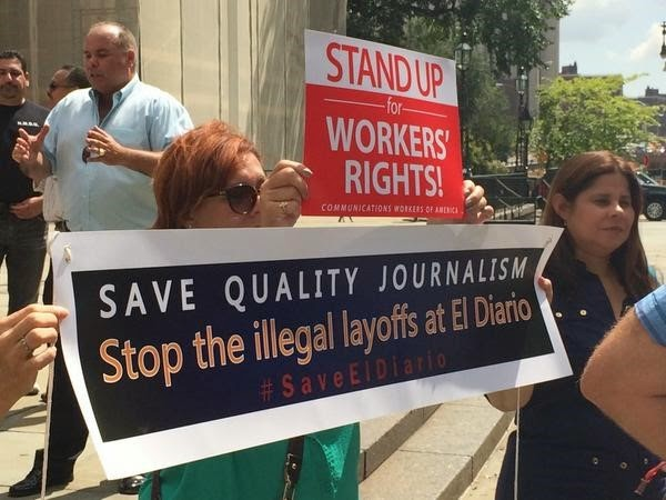 Illegally fired El Diario employees Annette Santiago (l) and Rosa Murphy (r)