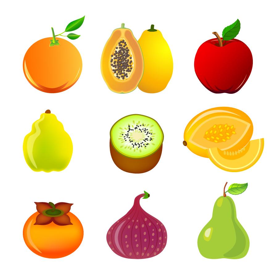新鮮な果物アイコン Exotic fruit icon set イラスト素材