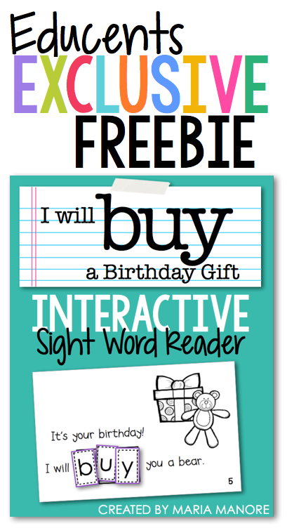 FREE emergent reader on Educents this week only!