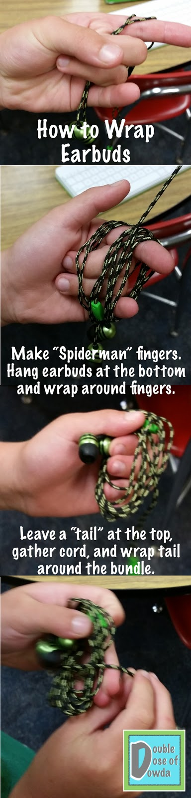 "Use ""Spiderman"" fingers to wrap earbuds and prevent tangles"