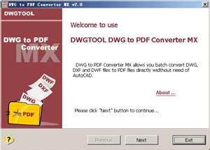 DWG to PDF conversion tool:DWG to PDF Converter MX
