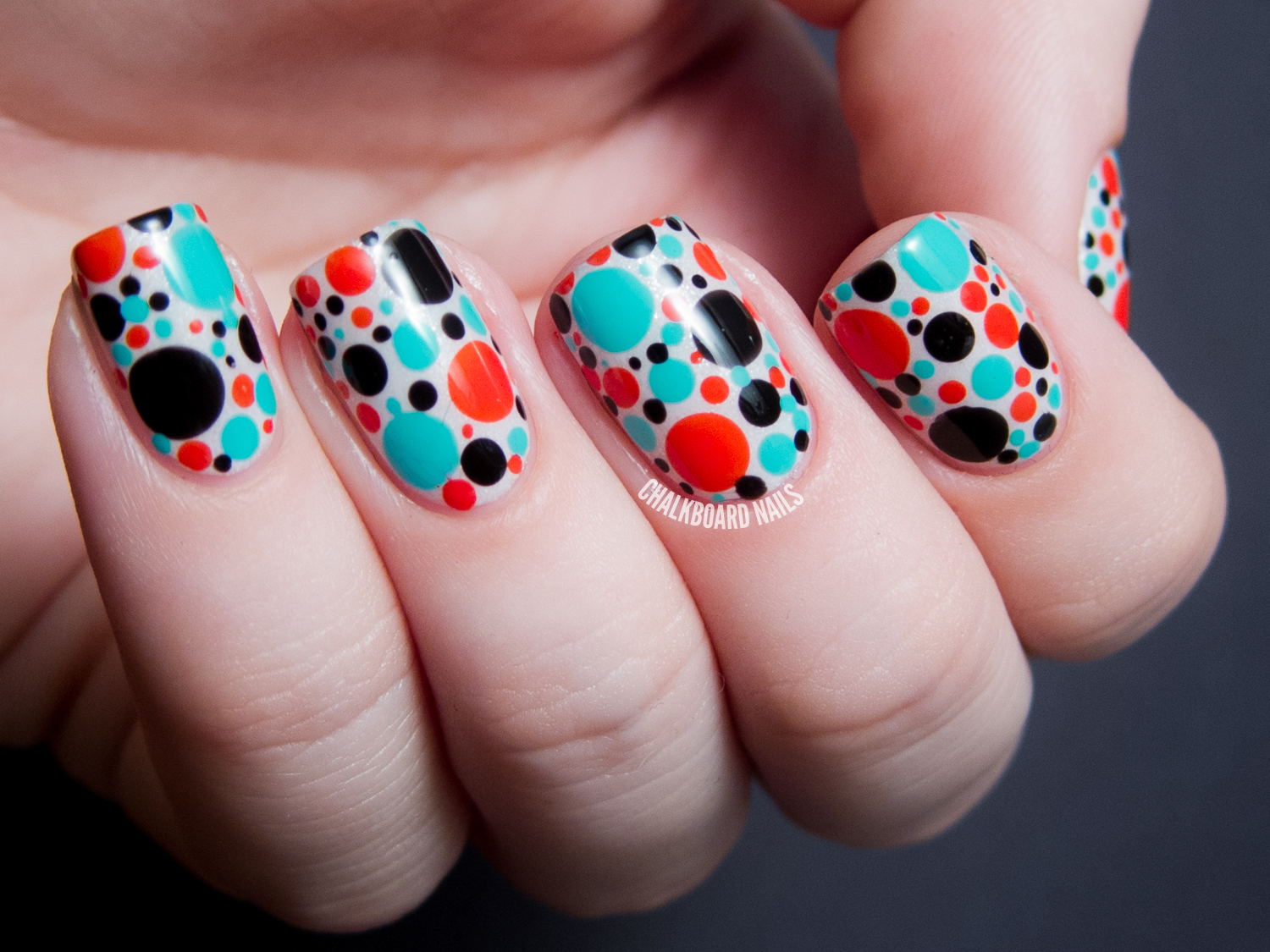 31DC2013 Day 11: Punchy Dots | Chalkboard Nails | Nail Art Blog