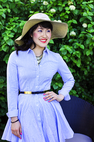 H&M striped shirt dress with Ann Taylor dot bow straw hat